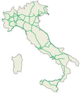 Alle autobahne Italien auf der Karte