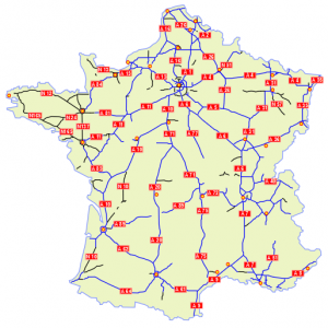 Karte Autorouten Frankreich